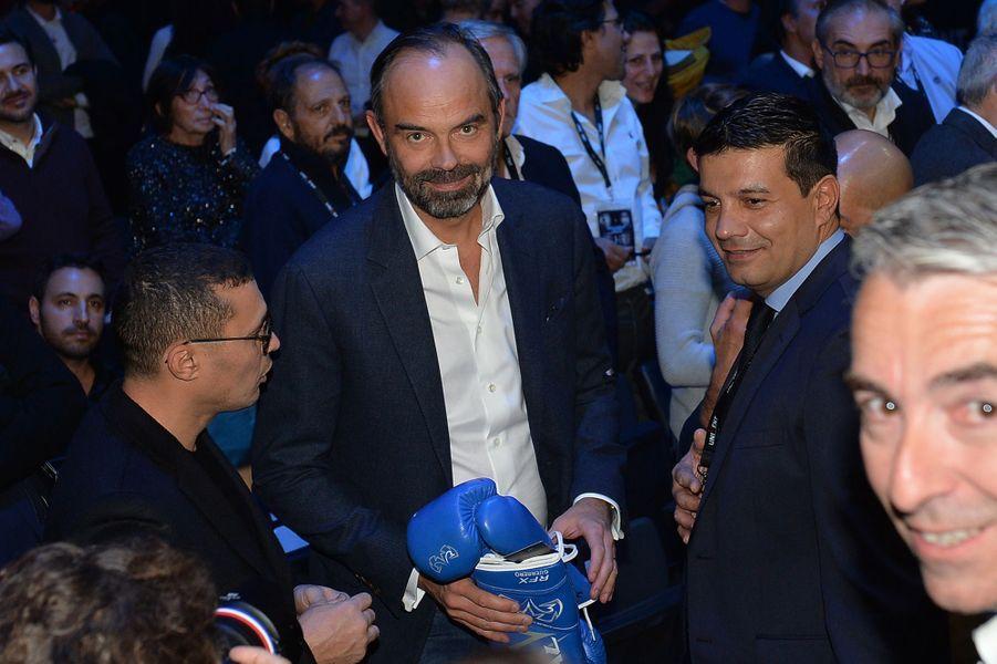 Edouard Philippe vendredi soir lors duchampionnat du monde WBA des lourds-légers, à l'AccorHotels Arena.