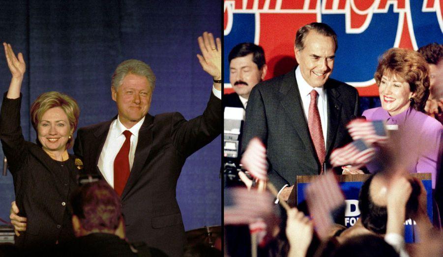 Bill et Hillary Clinton se sont mariés en 1975 et ont eu une fille, Chelsea, en 1980. Avocate, elle a toujours été engagée politiquement. Elle a occupé la position de First lady de 1992 à 2000, et ce malgré le retentissant scandale Monica Lewinsky. En 2000, après le départ de la Maison Blanche du couple, elle a été élue sénatrice de l'Etat de New York -une première dans l'histoire. Réelue en 2006, elle s'est lancée dans la course à l'investiture démocrate pour la présidentielle de 2008 mais a échoué face au futur Président Obama. Depuis son élection, elle est devenue Secrétaire d'Etat -l'équivalent de notre ministre des Affaires étrangères- tandis que Bill fait le tour du monde pour animer des conférences fort bien rémunérées et a créé sa fondation.Bob Dole a été sénateur du Kansas de 1969 à 1996, date de l'élection présidentielle où il s'est présenté contre le sortant Clinton. Candidat démocrate, il est le seul dans l'histoire à avoir échoué à la fois en tant que candidat à la Présidence et en tant que candidat à la Vice-présidence. Il est marié depuis 1975 à Elizabeth Handford Dole, femme politique. Républicaine également, elle a travaillé pour les gouvernements de Ronald Reagan et de George H. W. Bush, avant de devenir sénatrice de l'Etat de la Caroline du Nord de 2003 à 2009.