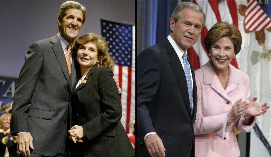 Candidat malheureux à l'élection présidentielle de 2004, le démocrate John Kerry est marié depuis 1995 à la femme d'affaires et philanthrope Teresa Heinz. Cette native du Mozambique a été mariée, de 1966 à 1991, au sénateur républicain H. John Heinz III, héritier de la marque de ketchup éponyme que Teresa gère depuis la mort de son premier mari dans un accident d'avion en 1990. Elle a eu trois fils de son premier mariage, et John Kerry deux filles de sa première union.Laura Bush était, elle, professeur puis bibliothécaire avant de devenir épouse de politicien à plein temps. Elle a rencontré et épousé George W. Bush en 1977. Le couple a eu deux filles, les jumelles Barbara et Jenna, en 1981.