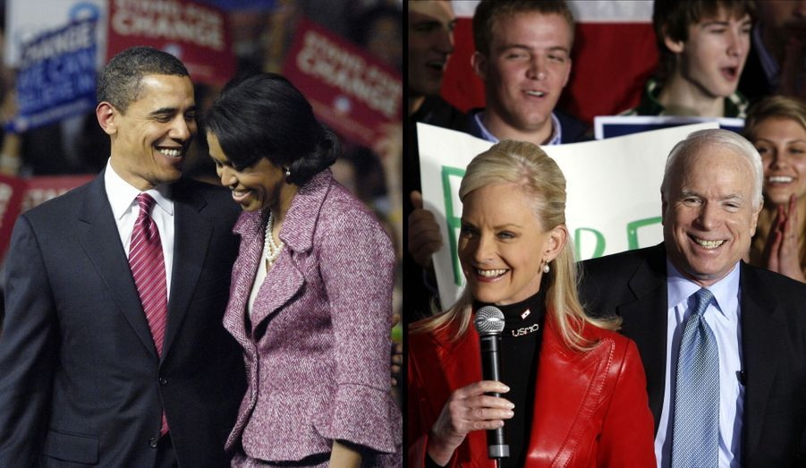 Avant d'être Première dame, Michelle Obama était avocate. Le couple, qui s'est marié en 1992, a eu deux filles: Malia, née en 1998, et Sasha, née en 2001.Cindy Lou Hensley est la seconde épouse de John McCain. Malgré leurs 18 ans d'écart, ils se sont mariés en 1980 et ont eu quatre enfants: Meghan, John, James et Bridget. Elle est également l'héritière de l'entreprise de boissons Hensley & Co, mais a refusé de travailler au sein de la multinationale familiale afin de devenir institutrice spécialisée.