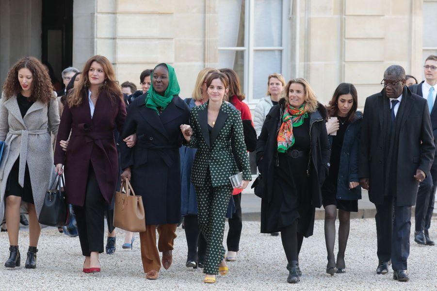 Marlène Schiappa, Aïssata Lam, Emma Watson, Lisa Azuelos, Nadia Murad, Denis Mukwege ont participé à la réunion du conseil consultatif pour l'égalité entre les femmes et les hommes, accueillis par Brigitte Macron au palais de l'Elysée à Paris le 19 février 2019.