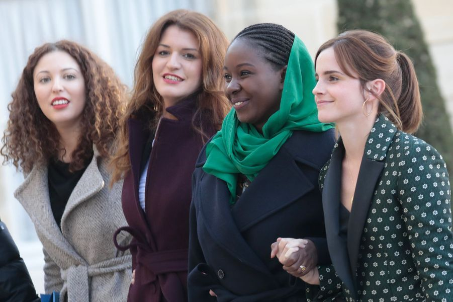 Marlène Schiappa, Aïssata Lam, Emma Watsonont participé à la réunion du conseil consultatif pour l'égalité entre les femmes et les hommes au palais de l'Elysée à Paris le 19 février 2019.