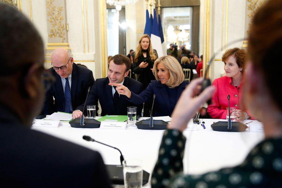 Pendant leconseil consultatif pour l'égalité entre les femmes et les hommes, au palais de l'Elysée à Paris le 19 février 2019.