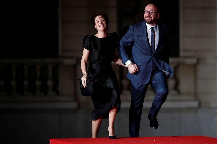 Le Premier ministre belgeCharles Michel et sa compagne Amelie Derbaudrenghien