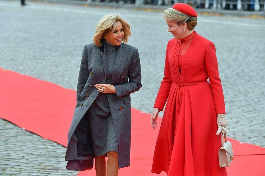 Brigitte Macron et la reine Mathilde.