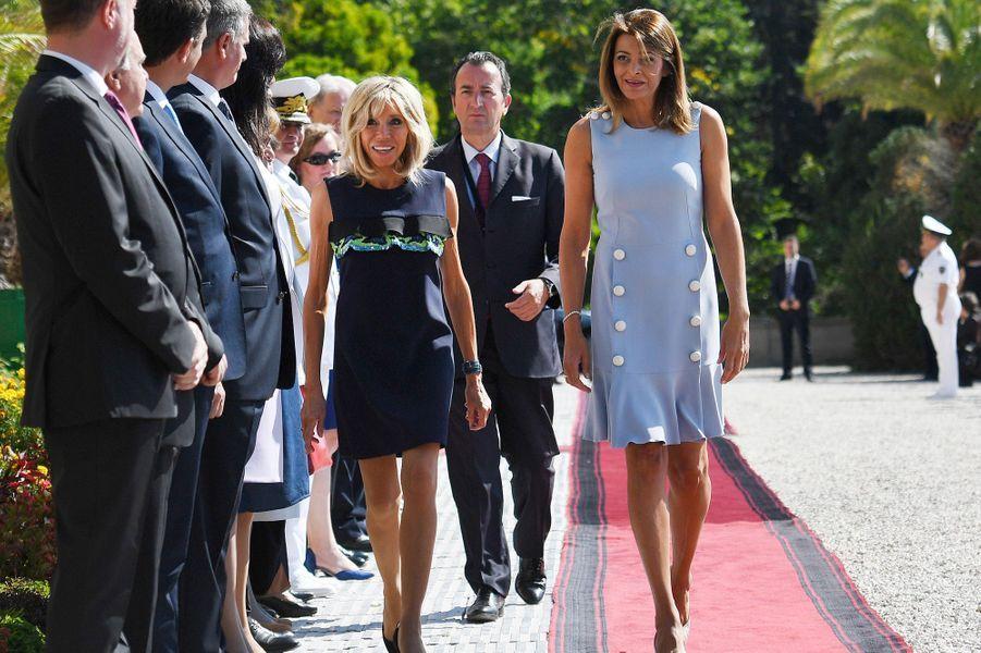 Brigitte Macron en compagnie deDesislava Radeva, épouse duPrésident de la République de Bulgarie.