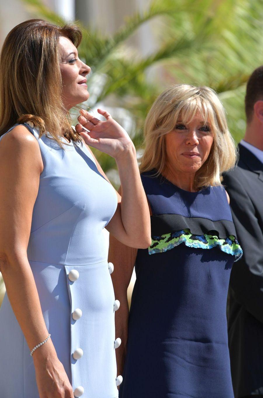 Brigitte Macron en compagnie deDesislava Radeva, épouse du président bulgare.
