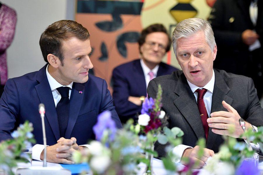 M. Macron et le roi des Belges Philippe à Molenbeek, en Belgique.