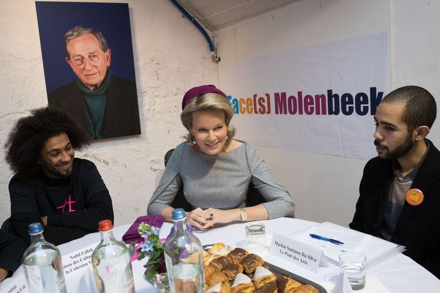 La reine Mathilde à Molenbeek, en Belgique.