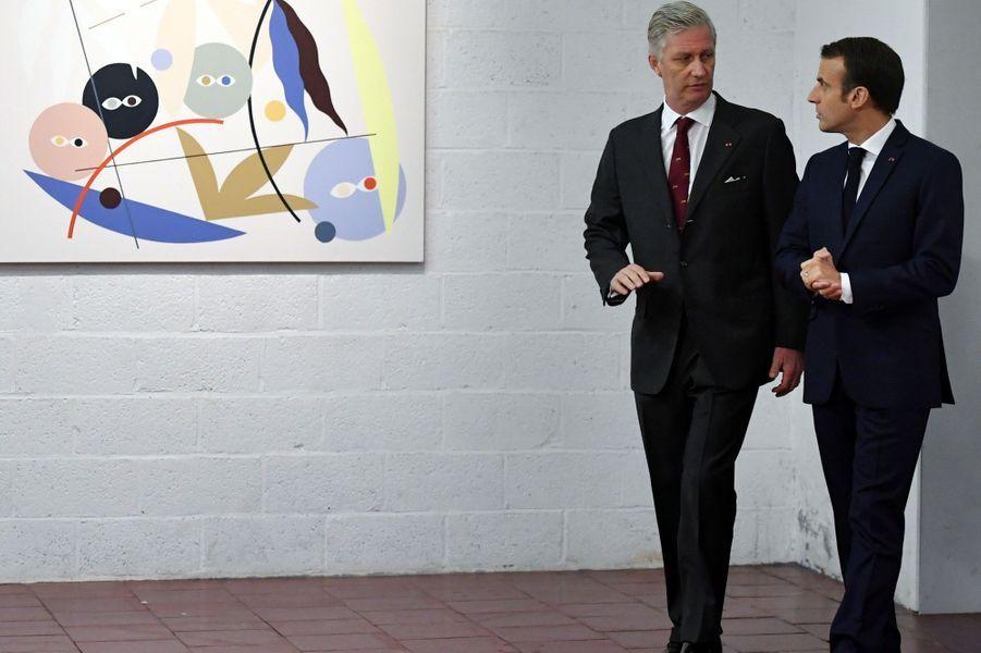 Le roi Philippe des Belges et Emmanuel Macron à Molenbeek.