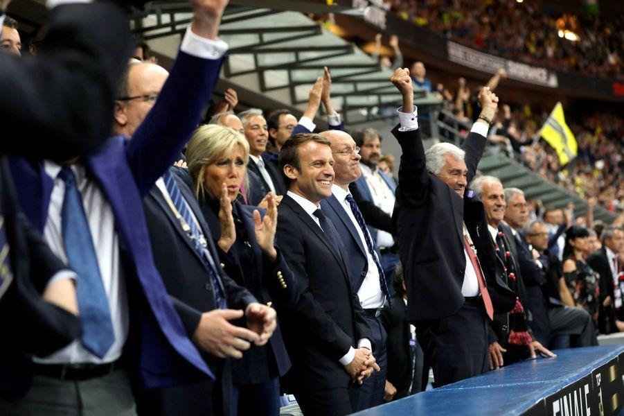 Tribune présidentiellelors de la finale du Top 14 entre Clermont et Toulon.