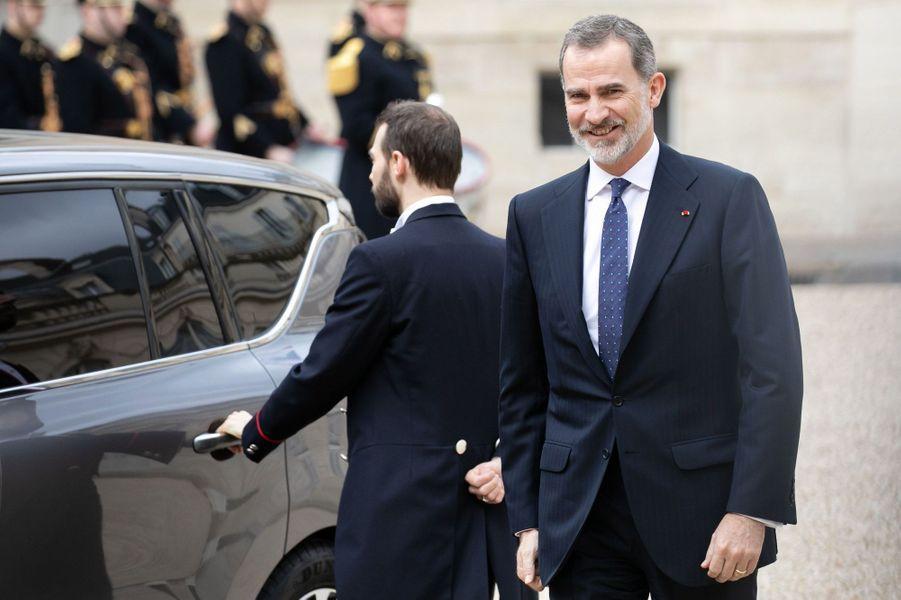 Le Roi Felipe d'Espagne à l'Elysée mercredi.