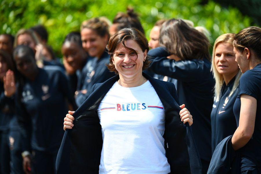 La ministre des SportsRoxana Maracineanu à Clairefontaine, mardi.