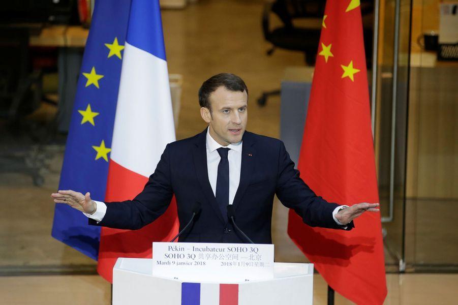 Discours d'Emmanuel Macron depuisl'incubateur d'entreprises Soho Q à Pékin.