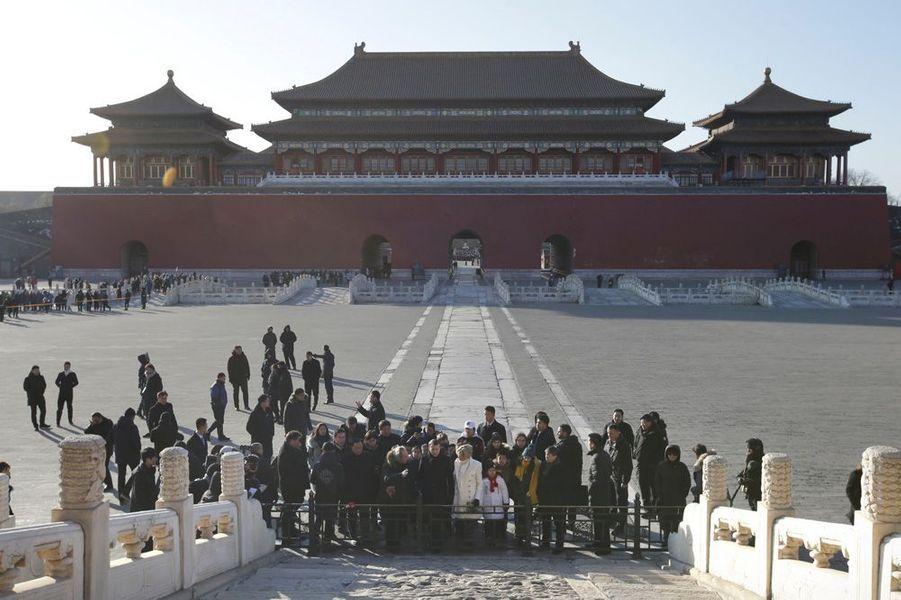 Emmanuel et Brigitte Macron à la Cité interdite de Pékin.
