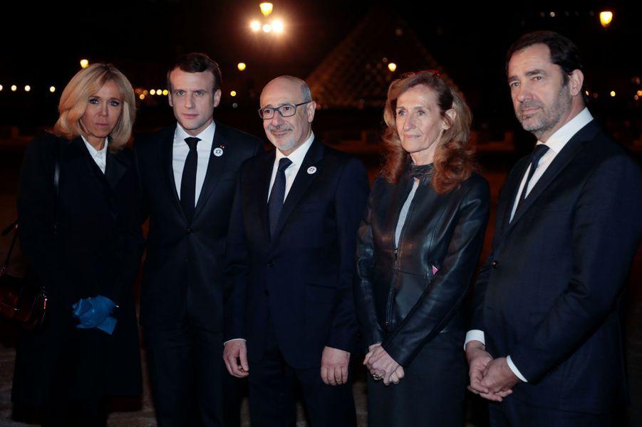 Brigitte Macron, Emmanuel Macron, Francis Kalifat, Nicole Belloubet et Christophe Castaner.