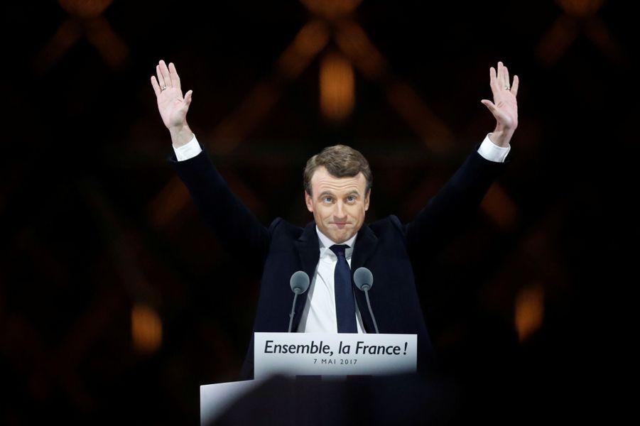 Emmanuel Macron lors de son discours au Louvre.