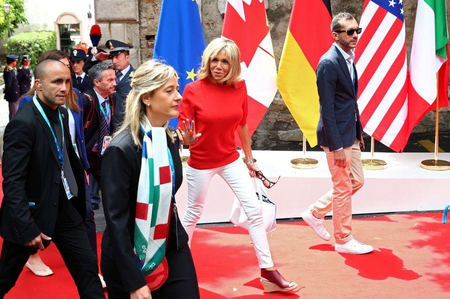 Brigitte Macron au sommet du G7 vendredi.
