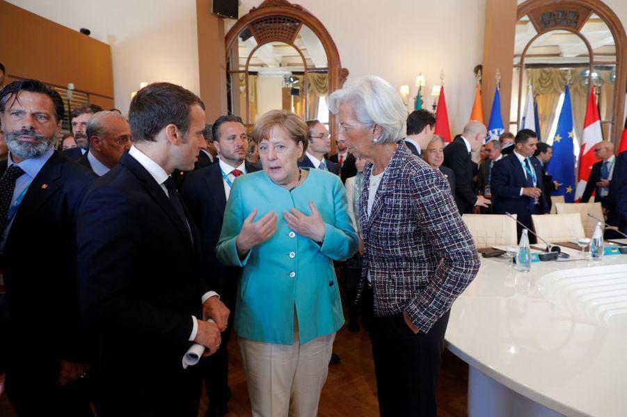 Emmanuel Macron, Angela Merkel et Christine Lagarde au G7 de Taormine, samedi.