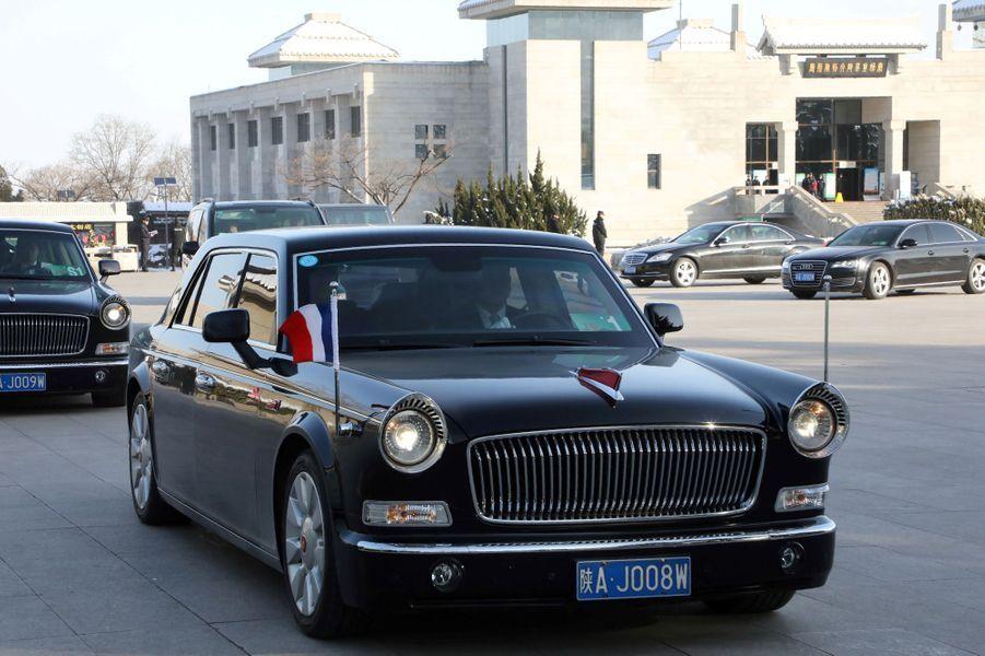 La voiture du chef de l'Etat français, ici à Xian.