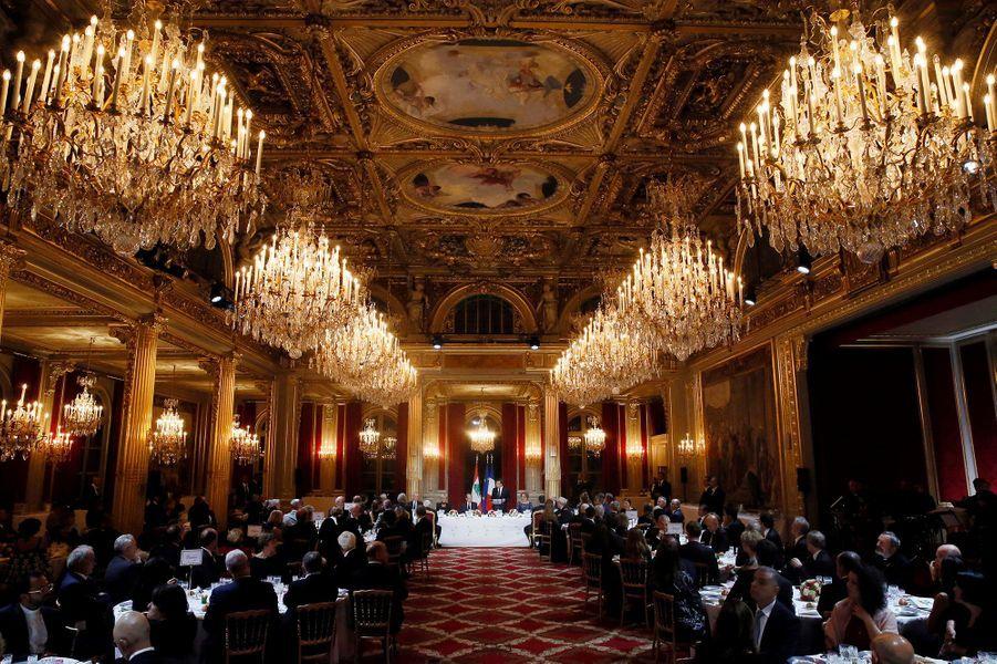 Dans la salle des fêtes de l'Elysée, lundi soir, à l'occasion du dîner d'Etat pour la visite du président libanais.