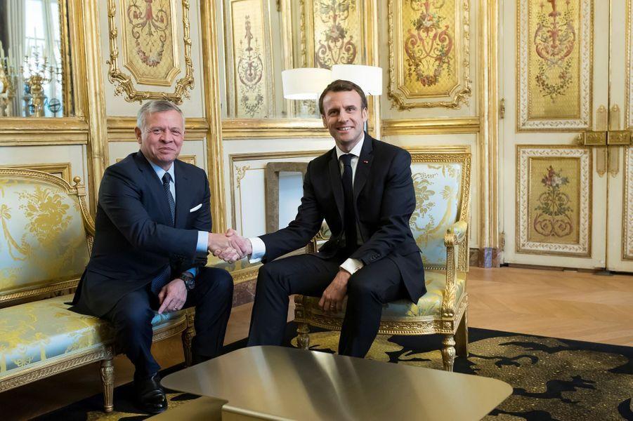 Entretien à l'Elysée entre Emmanuel Macron et le roi Abdallah II de Jordanie.