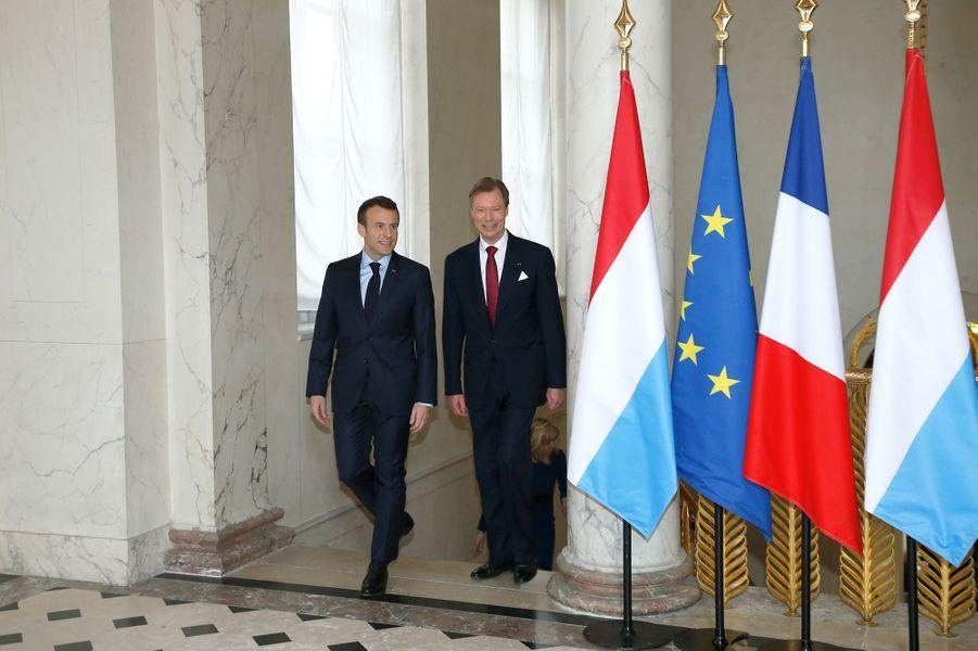 Emmanuel Macron et le grand-duc Henri de Luxembourg à l'Elysée.