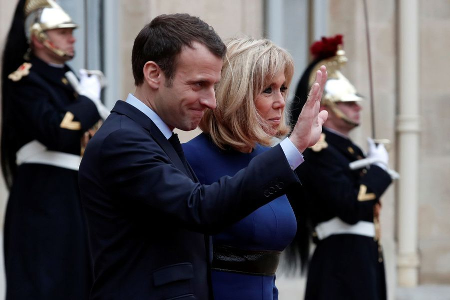 Emmanuel et Brigitte Macron lundi àl'Elysée.