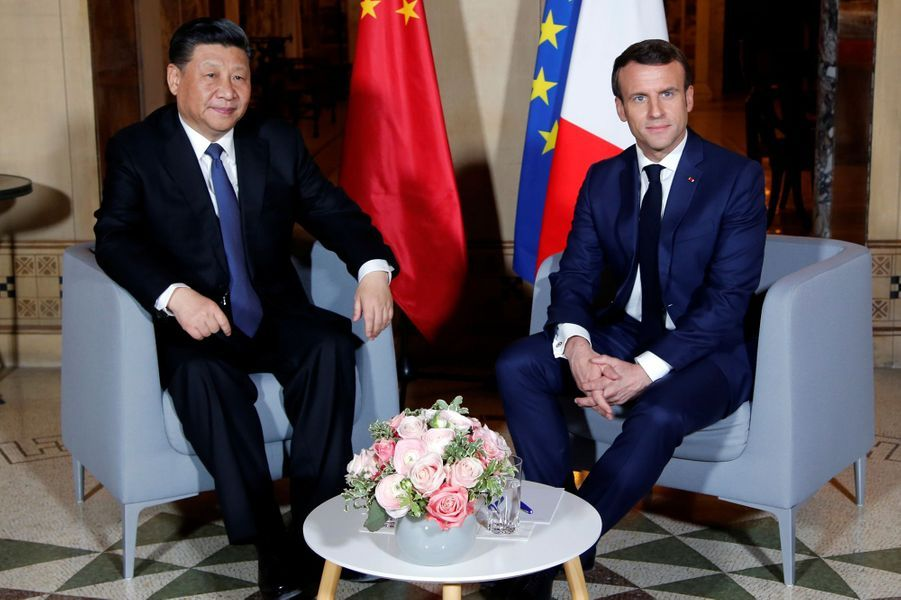 Emmanuel Macron etXi Jinpingàla villa Kérylos,à Beaulieu-sur-Mer.