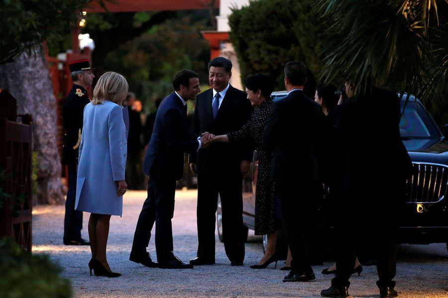 Les couples présidentiels français et chinois dimanche àla villa Kérylos,à Beaulieu-sur-Mer.