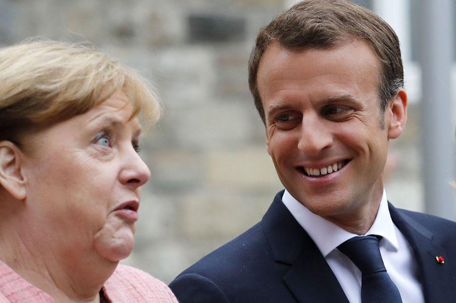 Angela Merkel et Emmanuel Macron à Aix-la-Chapelle jeudi