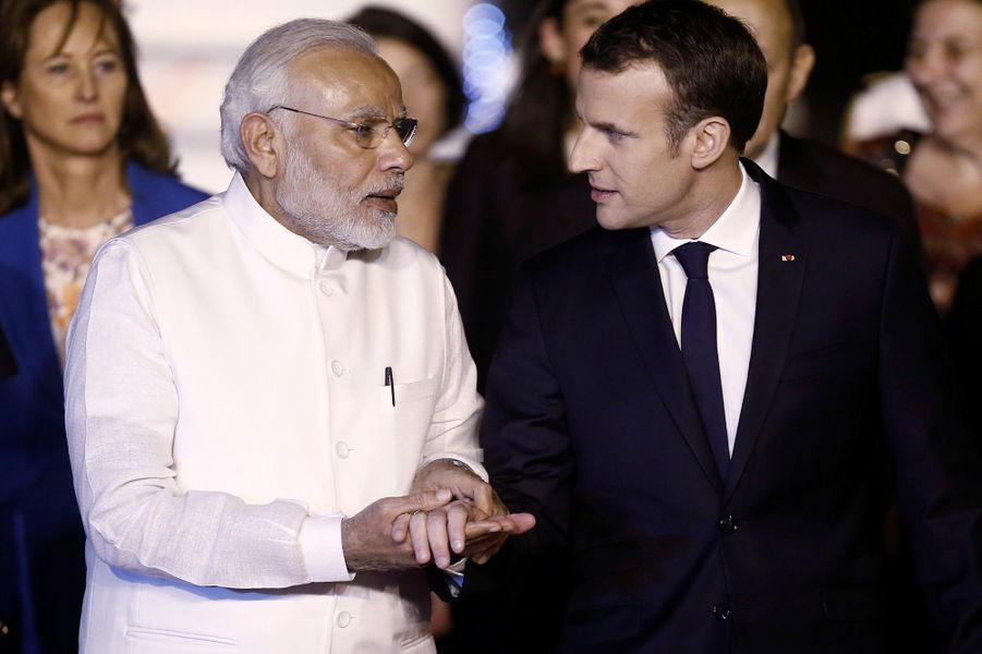 Emmanuel Macron et le Premier ministre Narendra Modi.
