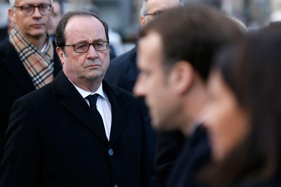 François Hollande lundi aux commémorations du 13 Novembre.