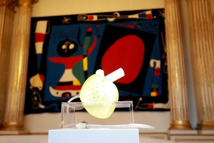 Le coeur artificiel Carmatexposé à l'Elysée lors de la«Grande exposition du Fabriqué en France».