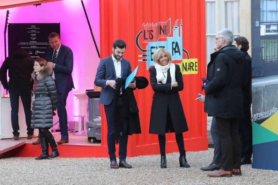Brigitte Macron vendredi à l'Elysée lors du lancement de la«Grande exposition du Fabriqué en France».