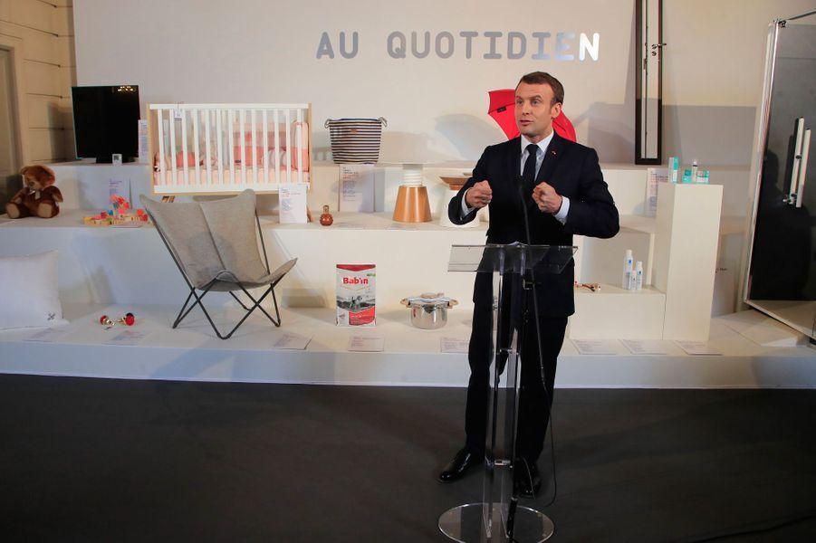 Discours d'Emmanuel Macron lors du lancement à l'Elysée de la«Grande exposition du Fabriqué en France».