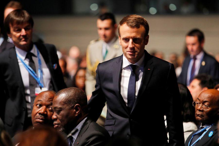 Emmanuel Macron au World Convention Center de Bonn pour la COP23, en début d'après-midi le 15 novembre 2017.