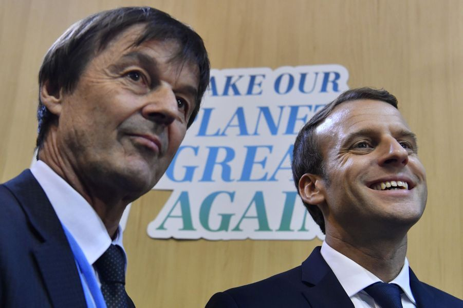 Nicolas Hulot etEmmanuel Macron au World Convention Center de Bonn pour la COP23, en fin d'après-midi le 15 novembre 2017.