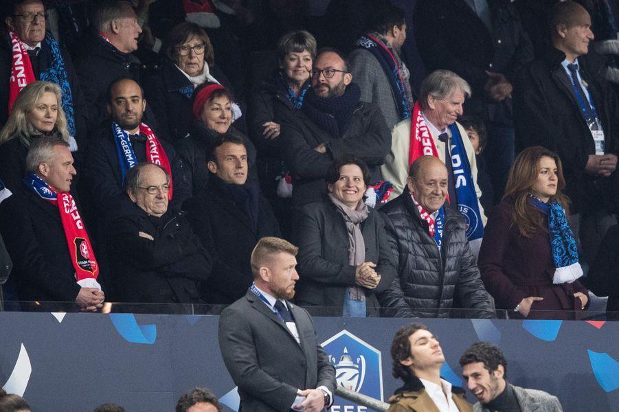 Au premier rang, François de Rugy,Noël Le Graët, Emmanuel Macron,Roxana Maracineanu,Jean-Yves Le Drian etMarlène Schiappa.