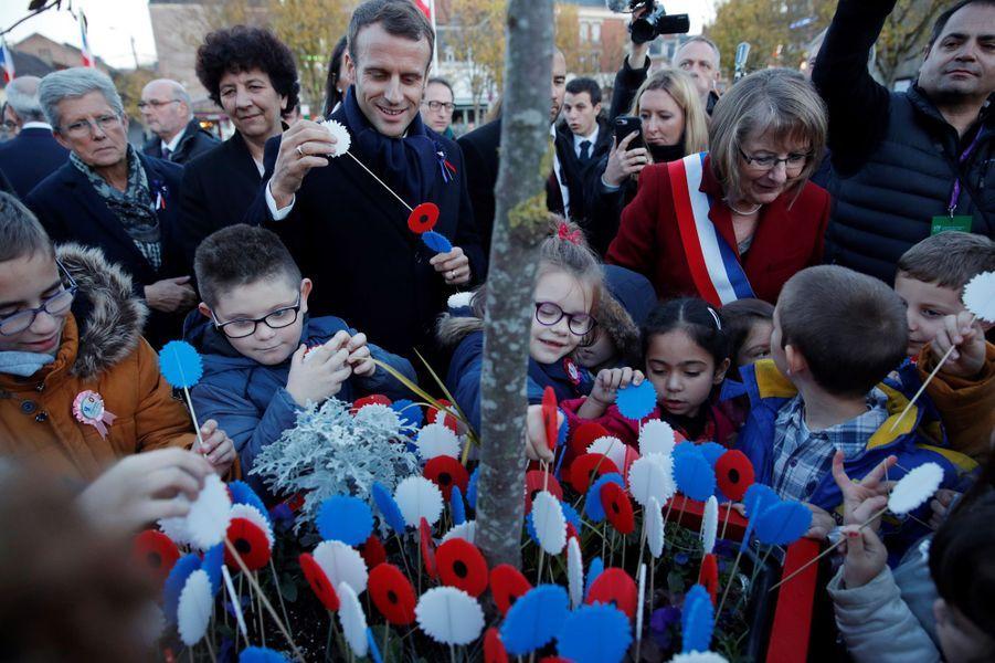 Emmanuel Macron àPéronne (Hauts-de-France).
