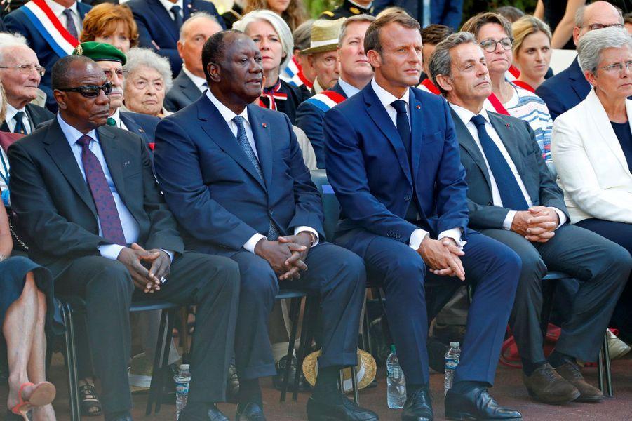 Alpha Condé, Alassane Ouattara, Emmanuel Macron et Nicolas Sarkozy à Boulouris-sur-Mer.