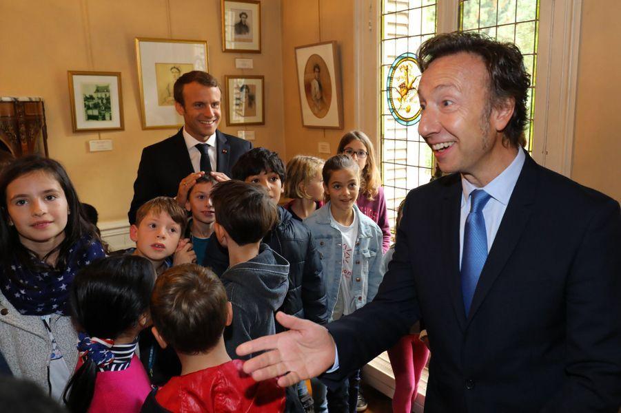 Stéphane Bern et Emmanuel Macron au château de Monte-Cristo, dans les Yvelines, le 16 septembre 2017.