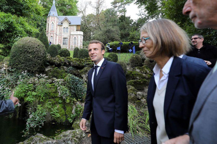 Emmanuel Macron et Francoise Nyssenau château de Monte-Cristo, dans les Yvelines, le 16 septembre 2017.