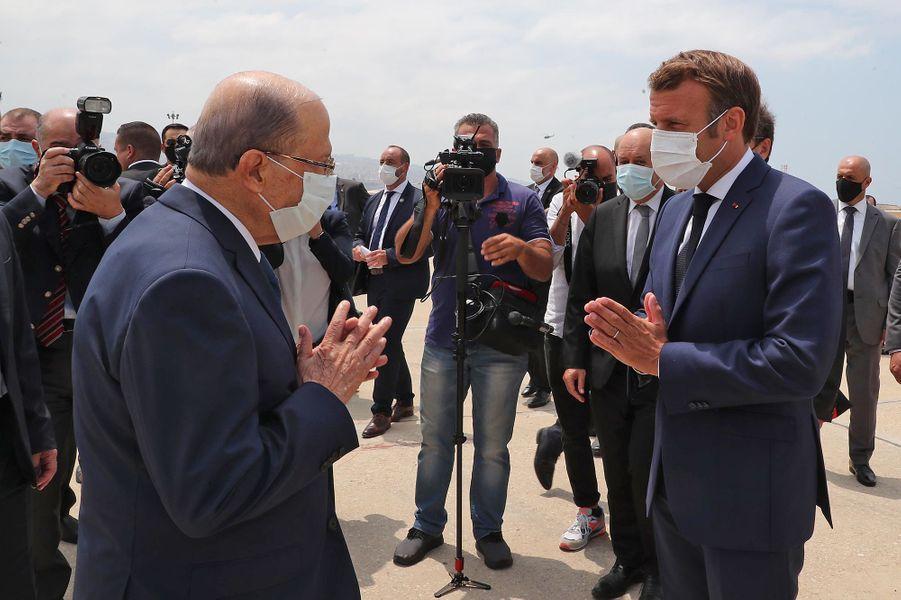 L'arrivée d'Emmanuel Macron à Beyrouth.