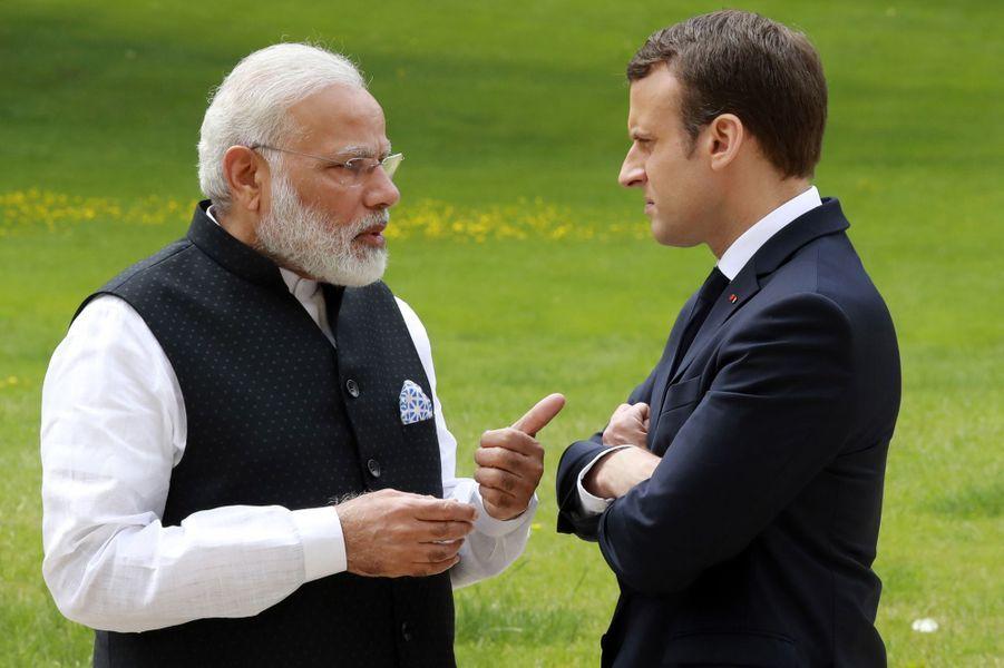 Le président français Emmanuel Macron et le Premier ministre indien Narendra Modi à l'Elysée, le 3 juin 2017.