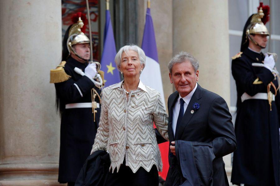 L'arrivée de la directrice du FMI Christine Lagarde et Xavier Giocanti.