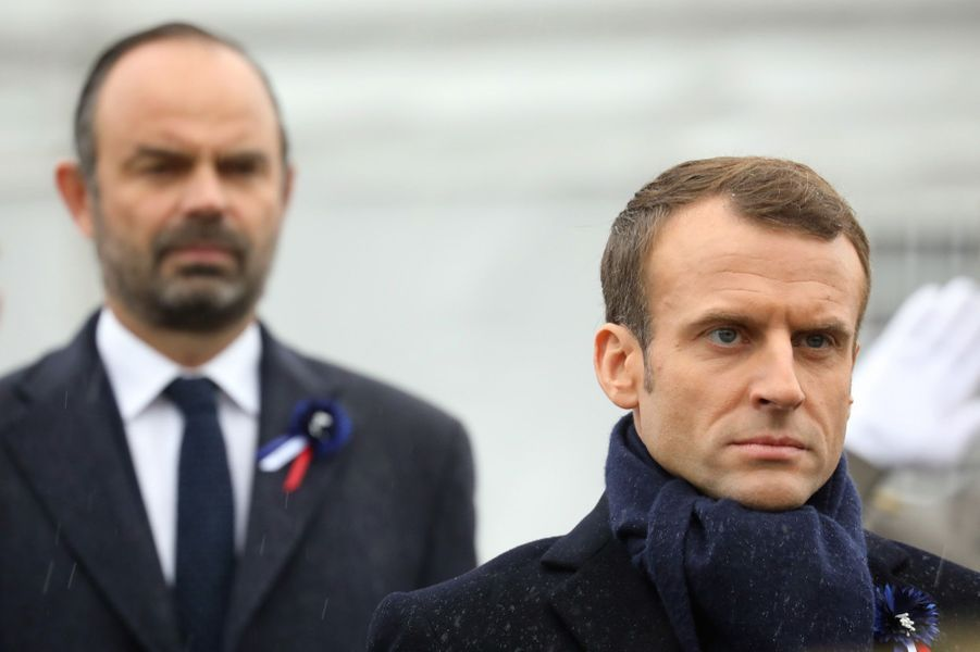 Edouard Philippe et Emmanuel Macron, à l'Arc de Triomphe.