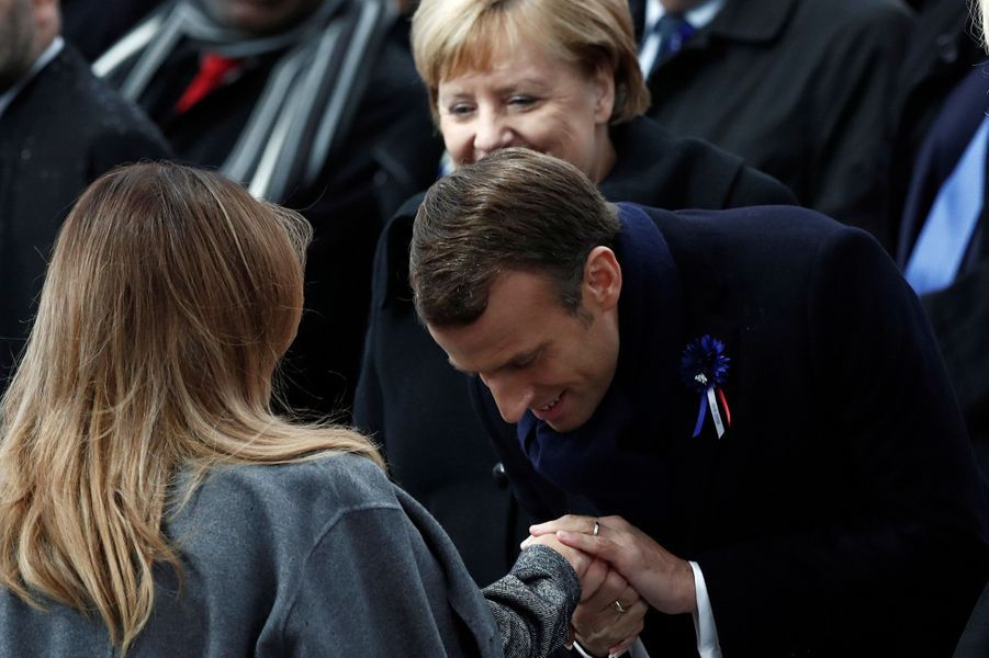 Melania Trump et Emmanuel Macron.