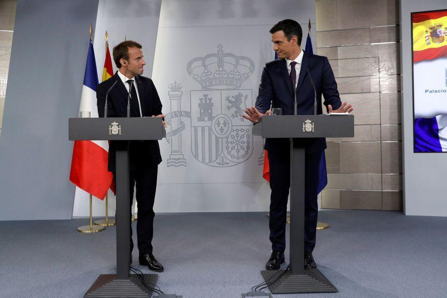 Conférence de presse commune à Madrid d'Emmanuel Macron et duchef du gouvernement espagnol Pedro Sanchez.
