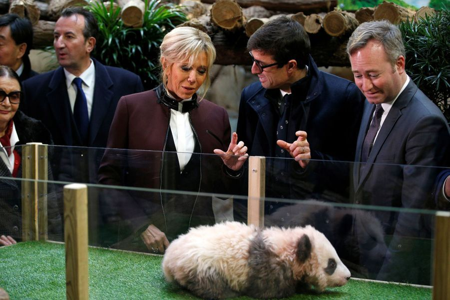 Brigitte Macron, Rodolphe Delord, directeur du zoo, et le secrétaire d'Etat Jean-Baptiste Lemoyne lors du baptême du panda Yuan Meng.